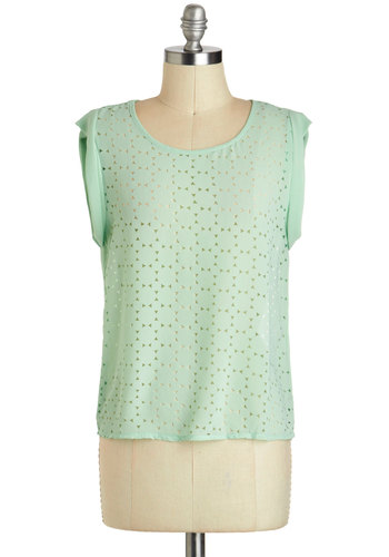 Pistachio Parfait Top - Short, Sheer, Mint, Solid, Pastel, Sleeveless, Cutout, Work, Casual, Summer