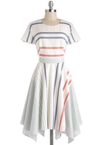 A Seashore Thing Dress by Corey Lynn Calter - Cotton, Long, White, Red, Blue, Stripes, Casual, Nautical, A-line, Short Sleeves, Handkerchief