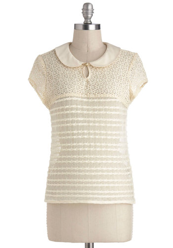 Study Hall of Fame Top - Cream, Solid, Lace, Peter Pan Collar, Work, Cap Sleeves, Collared, Mid-length, Sheer