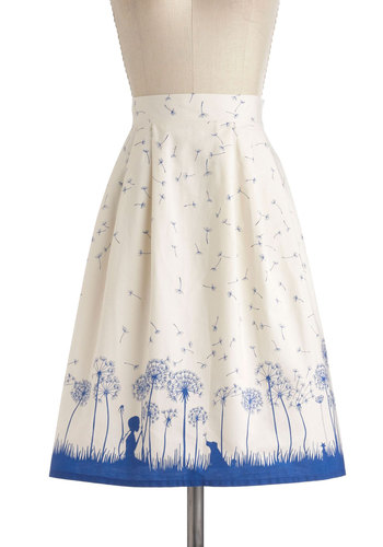 Drifting Through Daydreams Skirt - International Designer, Cream, Blue, Novelty Print, Casual, Daytime Party, Vintage Inspired, Mid-length, Pockets, Graduation, Top Rated