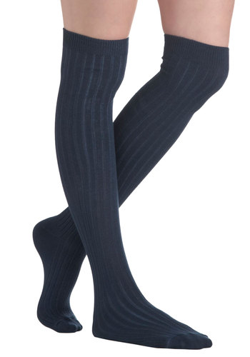 Basically Amazing Socks in Navy - Blue, Solid, 90s, Scholastic/Collegiate, Variation