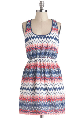Radio Frequencies Dress - Short, Multi, Red, Blue, Pink, White, Print, Casual, A-line, Racerback, Chevron, Scoop, Beach/Resort, Summer