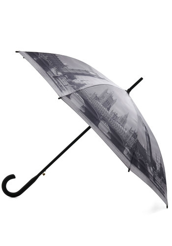 Rain Along the Thames Umbrella - Black, White, Novelty Print