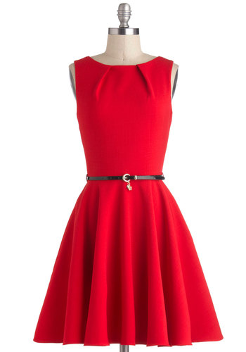 Luck Be A Lady Dress in Red - Red, Solid, Belted, A-line, Sleeveless, Mid-length, Exposed zipper, Pockets, Party, Vintage Inspired, Variation, Basic, Valentine's