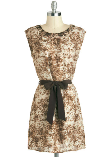 Metamorphic Marvel Dress - Short, Brown, Tan / Cream, Print, Belted, Casual, Shift, Sleeveless