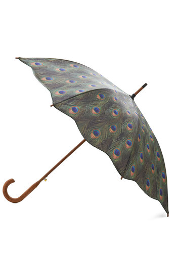 Weatherproof Feathers Umbrella - Green, Multi, Animal Print