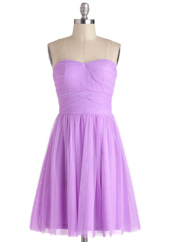 The Prettiest Pixie Dress - Short, Purple, Solid, Wedding, A-line, Strapless, Sweetheart, Ballerina / Tutu, Prom, Bridesmaid, Chiffon, Homecoming