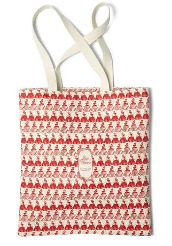 Bookshelf Bandit Tote in Louisa by Out of Print - Cotton, Tan, Red, Novelty Print, Scholastic/Collegiate, French / Victorian, Eco-Friendly