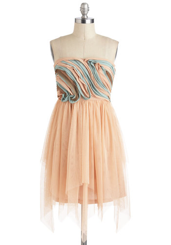 Desert Breeze Dress by Ryu - Strapless, Pink, Blue, Brown, Party, Pastel, Ballerina / Tutu, Prom, Fairytale, Mid-length