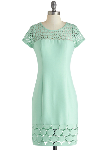 Water Feature Presentation Dress - Mint, Solid, Crochet, Daytime Party, Pastel, Sheath / Shift, Short Sleeves, Mid-length, Exclusives, Graduation