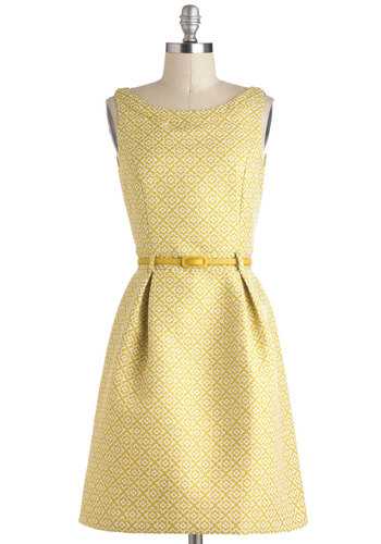 Quatre-floral Design Dress by Yumi - Yellow, White, Print, Embroidery, Work, Sheath / Shift, Sleeveless, Fall, Belted, Minimal, Mid-length, Pleats, Daytime Party, Vintage Inspired, 60s