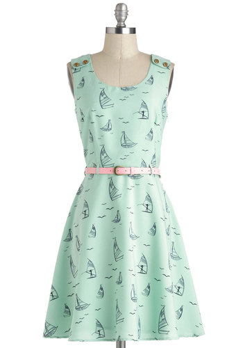 Puttin' on the Spritz Dress by Yumi - Blue, Pink, Novelty Print, Casual, Nautical, A-line, Sleeveless, Spring, Belted, Mid-length, Mint, Buttons, Beach/Resort