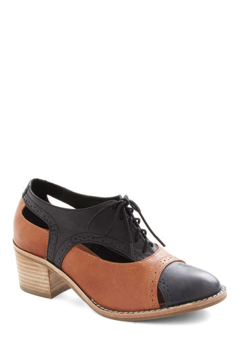 Sole Connection Heel by Jeffrey Campbell - Black, Solid, Cutout, Menswear Inspired, Mid, Lace Up, Leather, Brown, Work