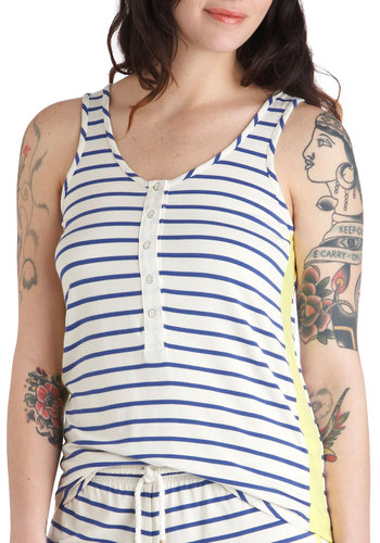 Dreamlog Blog Sleep Top by Kensie - White, Yellow, Blue, Stripes, Nautical, Trim, Casual, Tank top (2 thick straps), Summer