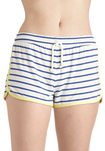 Dreamlog Blog Sleep Shorts by Kensie - White, Yellow, Blue, Stripes, Trim, Nautical, Pockets, Casual, Summer