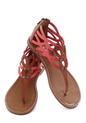 Don't Mind Atoll Sandal - Flat, Pink, Tan, Solid, Cutout, Studs, Faux Leather