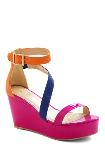 Girls Magenta Have Fun Wedge - Pink, Platform, Wedge, Mid, Orange, Blue, Girls Night Out, Colorblocking, Neon, Summer