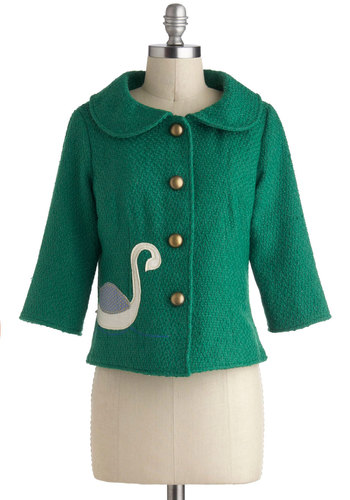The Class is Always Greener Jacket by Knitted Dove - Green, Buttons, Short, 2, Tan / Cream, Print with Animals, Work
