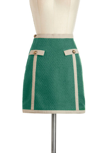 The Class is Always Greener Skirt by Knitted Dove - Short, Green, Solid, Buttons, Work, Vintage Inspired, Tan / Cream