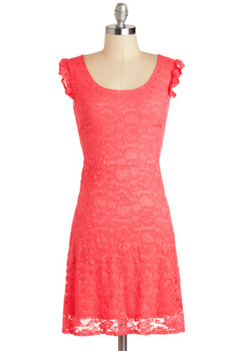 Celebration of Sisterhood Dress - Mid-length, Coral, Solid, Lace, Ruffles, Party, A-line, Sleeveless