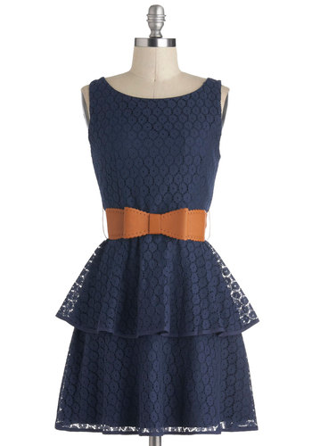 All in a Twirl Dress - Blue, Solid, Tiered, Belted, Party, A-line, Peplum, Boat, Bows, Lace, Sleeveless