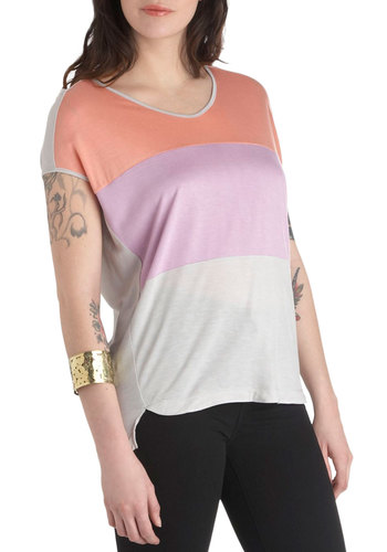 Cloudy Day in Catalina Top - Multi, Purple, Grey, Casual, Short Sleeves, Coral, Pastel, Colorblocking, Mid-length, Summer