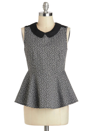 Turn of Phase Top - Cotton, Mid-length, Multi, Black, White, Print, Peter Pan Collar, Work, Peplum, Collared, Grey, Sleeveless