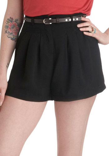 Shortcut to Chic Shorts - Black, Solid, Pleats, Pockets, Belted, Casual, Short, Beach/Resort, High Waist, Summer