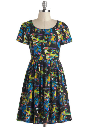 How Tweet it Is Dress - Print with Animals, Mid-length, Black, Multi, Casual, A-line, Short Sleeves