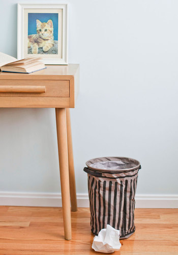 Every Litter Bit Collapsible Trash Basket - Cotton, Grey, Dorm Decor, Urban, Black, Stripes