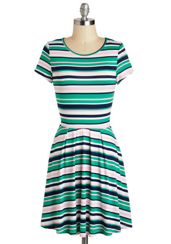 Tennis, Anyone? Dress - Short, Green, Pink, White, Stripes, Casual, A-line, Short Sleeves, Blue, Pleats, Travel