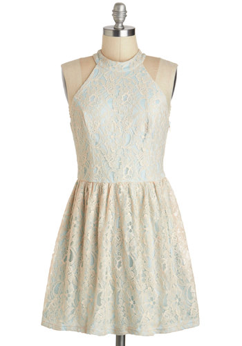 Ever So Fondant Dress - Pastel, Short, Cream, Blue, Solid, Backless, Lace, Party, A-line, Cutout, Halter, Graduation