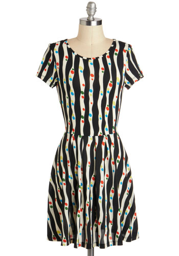 Tilt-A-Twirl Dress - Sheer, Short, Black, White, Multi, Polka Dots, Stripes, Casual, A-line, Short Sleeves