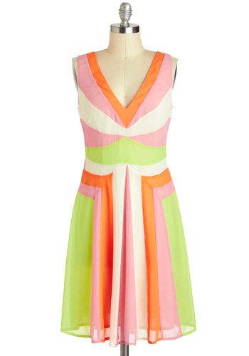 Sherbet Fizz Dress - Mid-length, Orange, Green, Pink, White, A-line, V Neck, Party, Neon, Colorblocking, Sleeveless, Prom