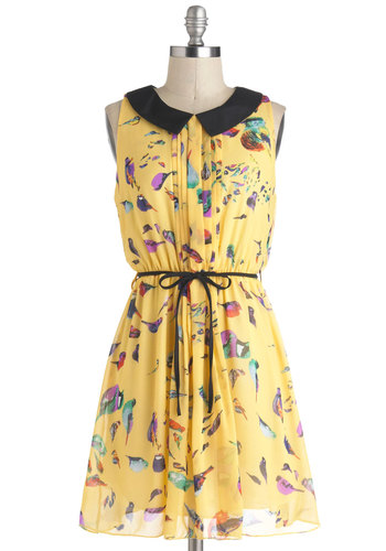 Field Guide To Fashion Dress - Print with Animals, Short, Yellow, Black, Multi, Pleats, Belted, Casual, A-line, Sleeveless, Collared