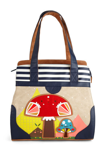 Mushroom of One's Own Tote - Faux Leather, Blue, Multi, Stripes, Print, Kawaii, Mushrooms, Statement
