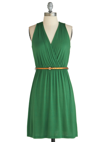 Versatile Lifestyle Dress - Jersey, Green, Solid, Belted, Casual, A-line, Sleeveless, V Neck, Copper, Ruching, Exclusives, Summer, Cover-up, Short
