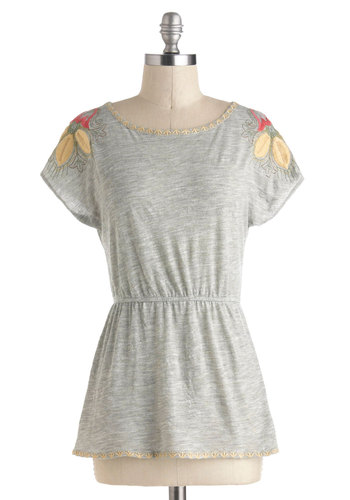 Borderline in Love Top - Mid-length, Grey, Red, Yellow, Green, Solid, Embroidery, Casual, Short Sleeves, Travel