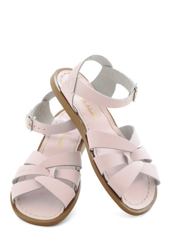 Outer Bank on It Sandal in Pastel Pink by Salt Water Sandals - Leather, Pink, Solid, Cutout, Pastel, Slingback, Strappy, Casual, Beach/Resort, Variation, Graduation, Summer, Flat