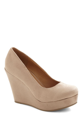 Chart Topper Wedge in Oatmeal - Tan, Solid, Wedge, High, Work, Variation