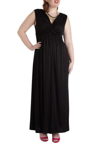 Signature Sophistication Dress - Plus Size - Black, Solid, Party, Empire, Maxi, Sleeveless, Long, V Neck, Prom