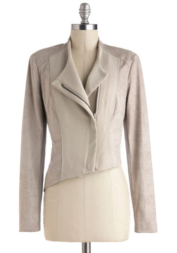 Slant Hardly Wait Jacket - Tan, Solid, Pockets, Party, Long Sleeve, Short, 1