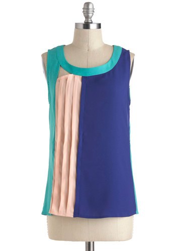 Peach-A-Blue Top - Mid-length, Blue, Pink, Solid, Pleats, Sleeveless, Cutout, Party, Colorblocking, Summer