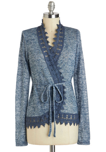 The Lake at Dawn Cardigan - Blue, Solid, Lace, Work, Long Sleeve, Mid-length
