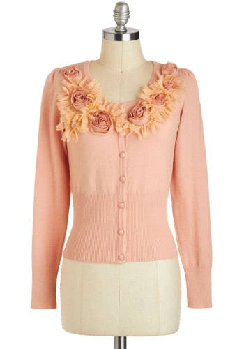 Blushing Sunrise Cardigan by Ryu - Pink, Tan / Cream, Solid, Buttons, Flower, Lace, Work, Long Sleeve, Short, Party, Vintage Inspired, Fairytale, Pastel
