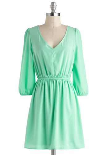 Pistachio What Fun Dress - Mint, Solid, Casual, A-line, Long Sleeve, V Neck, Short, Cutout, Pastel