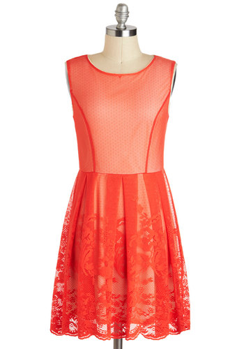 Pinch of Paprika Dress - Mid-length, Red, Solid, Lace, Party, A-line, Sleeveless, Neon, Prom, Summer