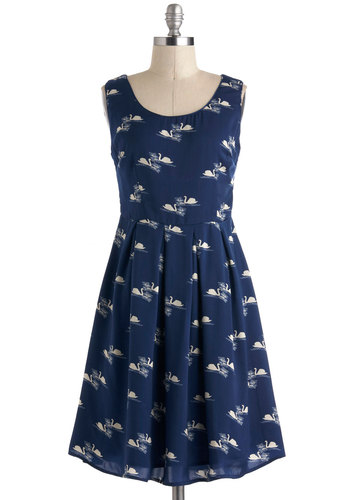 Tour Glide Dress - Print with Animals, Mid-length, Blue, White, Exposed zipper, Pleats, Casual, A-line, Tank top (2 thick straps), Nautical