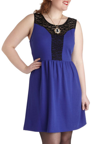 Sapphire Sensation Dress in Plus Size - Sheer, Blue, Black, Lace, Party, A-line, Tank top (2 thick straps)