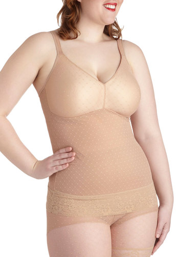Luxe Life Contouring Camisole in Beige - Plus Size - Tan, Solid, Lace, Variation, Lace